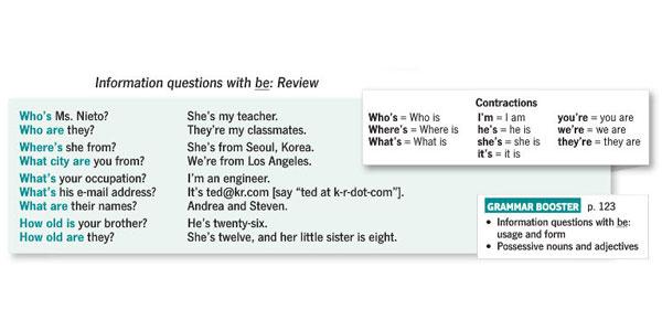 پرسش سوال های اطلاعاتی با to be